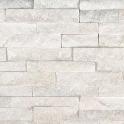 MS International M-Series Rockmount Stacked Stone Mini, Arctic White Mini Wall Coverings