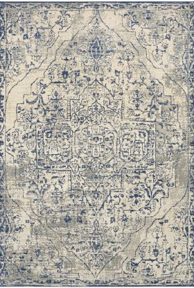 Karastan Rugs Tempest Slaney Cobalt Natural Cotton