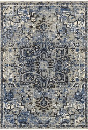 Karastan Rugs Tempest Perception Cobalt Natural Cotton