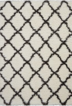 Nourison Luxe Shag Ivory/Charcoal