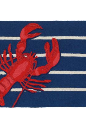 Liora Manne Frontporch Lobster on Stripes Navy