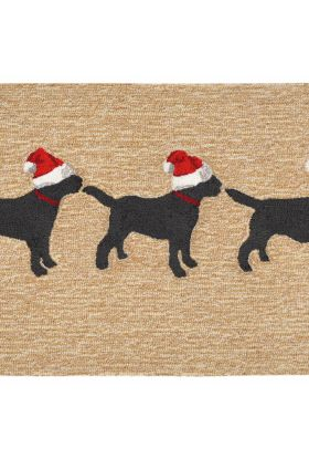 Liora Manne Frontporch 3 Dogs Christmas Natural