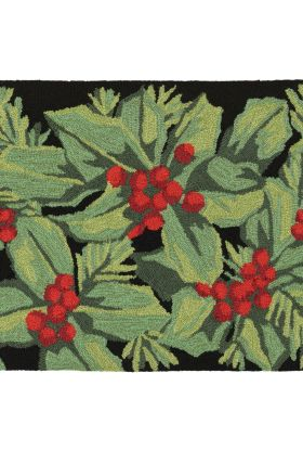 Liora Manne Frontporch Hollyberries Black
