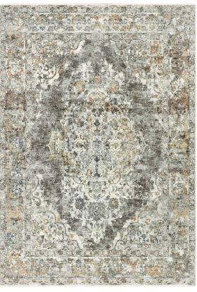 Liora Manne Jasmine Diamond Medallion Grey