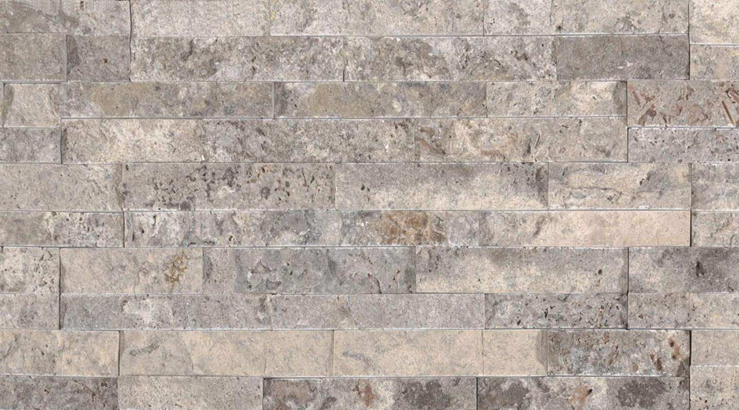 MS International M-Series Rockmount Stacked Stone Mini, Silver Travertine Mini Wall Coverings