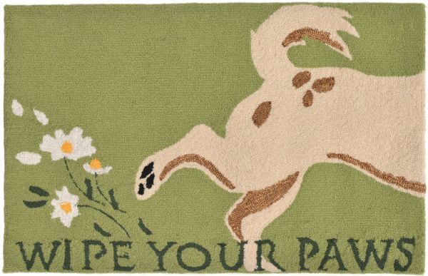 Liora Manne Frontporch Wipe Your Paws Green Collection
