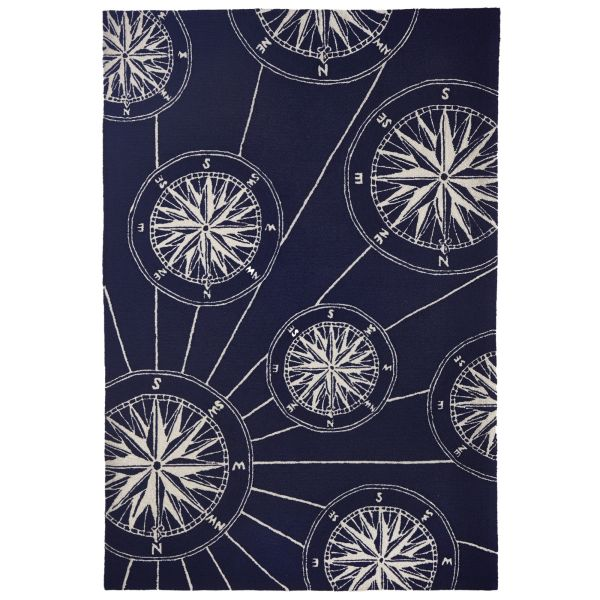 Liora Manne Frontporch Compass Navy Collection