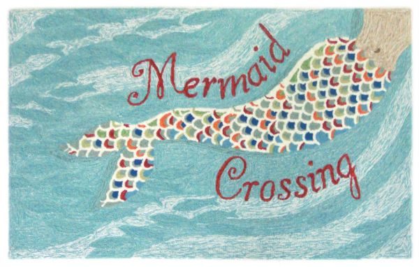 Liora Manne Frontporch Mermaid Crossing Blue Collection