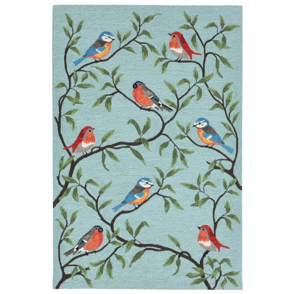 Liora Manne Ravella Birds On Branches Blue Collection