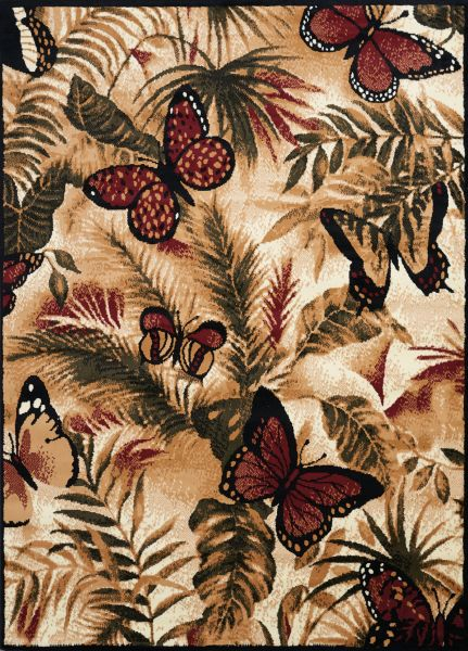 "United Weavers Legends Butterfly Jungle Multi 5'3"" x 7'2"" Collection"