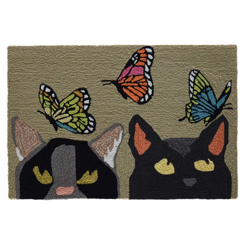 Liora Manne Frontporch Cats And Butterflies Green Rug From Liora Manne Area Rugs Shop Us
