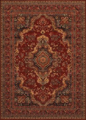 Couristan Old World Classic Kerman Medallion Burgundy
