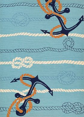 Couristan Outdoor Escape Anchorbend Ocean Blue