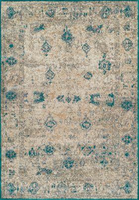 """Dalyn Antiquity Aq1 Ivory / Teal 3'3"""" x 5'1"""""""