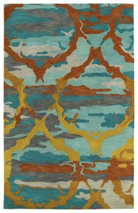 Kaleen Brushstrokes Collection Teal