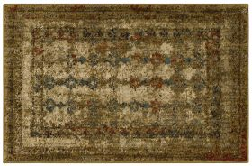 """Karastan Rugs Spice Market Faded Arabesque Gold by Patina Vie Gold 2'0"""" x 3'0"""" Scatter"""