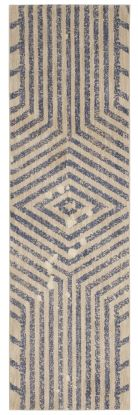 "Karastan Rugs Cosmopolitan Moderne Periwinkle by Patina Vie Antique White 2'4"" x 7'10"" Runner"