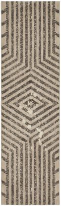 "Karastan Rugs Cosmopolitan Moderne Smokey Grey by Patina Vie Antique White 2'4"" x 7'10"" Runner"
