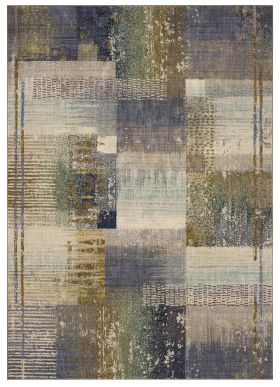 "Karastan Rugs Enigma Abstract Blocks Indigo Antique White 8'0"" x 11'0"""