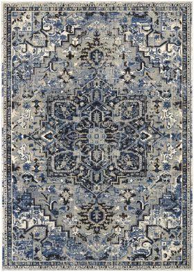 Karastan Rugs Tempest Perception Cobalt Natural Cotton