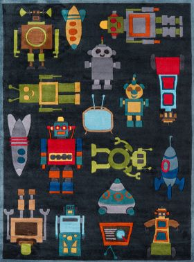 Momeni Lil Mo Whimsy Lmj-1 Contemporary Robots Steel Blue