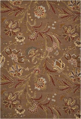 Nourison Gatsby Floral/Botanical, Traditional, Mocha