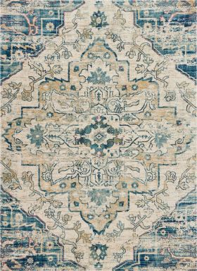 "Nourison Fusion Cream/Blue 2'2"" x 7'6"" Runner"