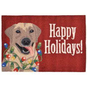Liora Manne Frontporch Happy Holidays Red
