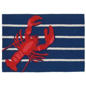 Liora Manne Frontporch Lobster on Stripes Navy