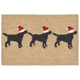 Liora Manne Frontporch 3 Dogs Christmas Ivory/Cream