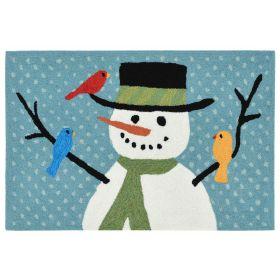 Liora Manne Frontporch Snowman And Friends Blue