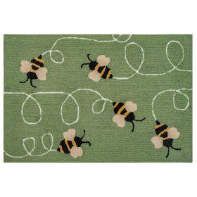 Liora Manne Frontporch Buzzy Bees Green
