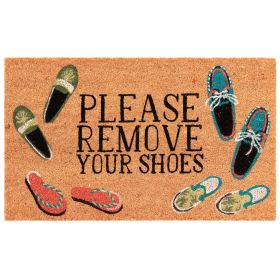 "Liora Manne Natura Please Remove Your Shoes Natural 1'6"" x 2'6"""