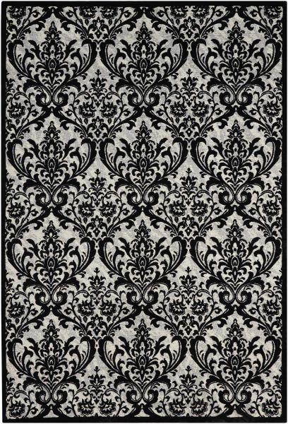 Nourison Damask Black/White