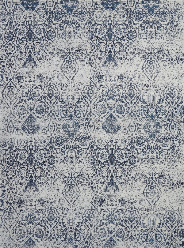 Nourison Damask Ivory/Navy Collection