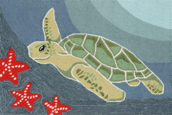 Liora Manne Frontporch Sea Turtle Ocean Collection