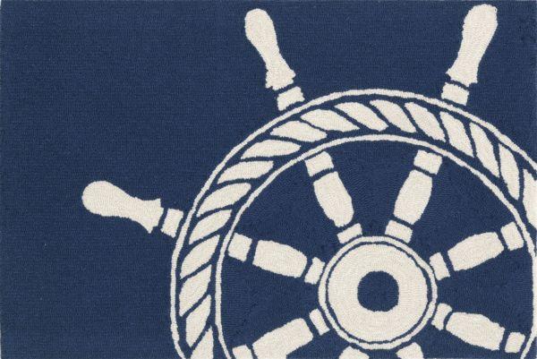 Liora Manne Frontporch Ship Wheel Navy Collection
