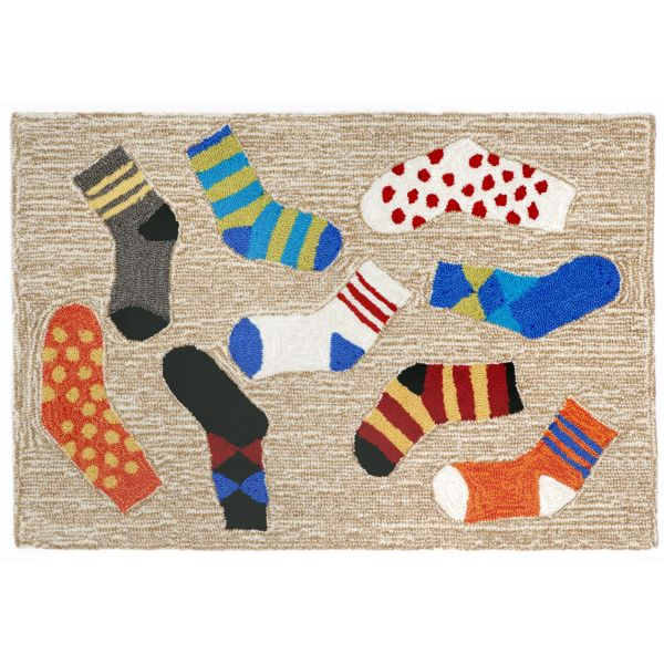 Liora Manne Frontporch Lost Socks Natural Collection