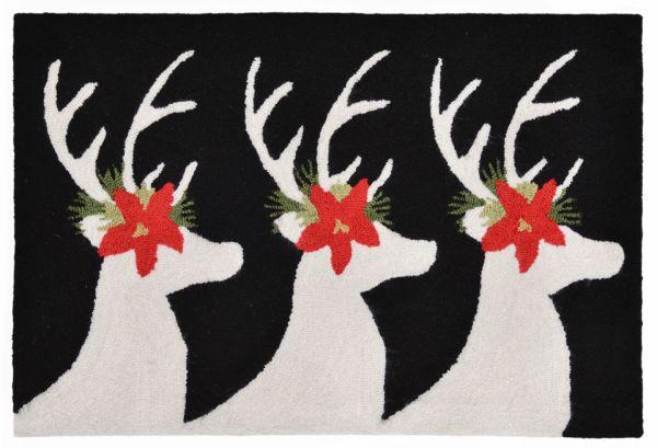 Liora Manne Frontporch Reindeer Black Collection