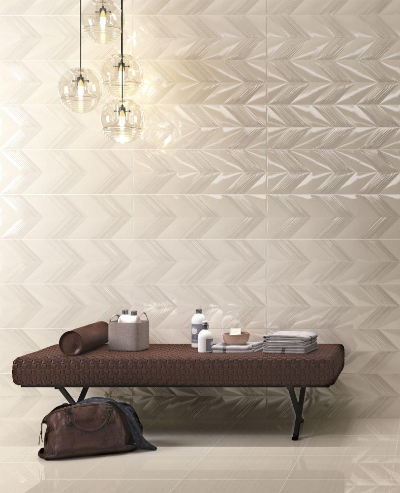 Emser Vertigo Ceramic Matte/Satin White Chevron F02VERTCHW1030