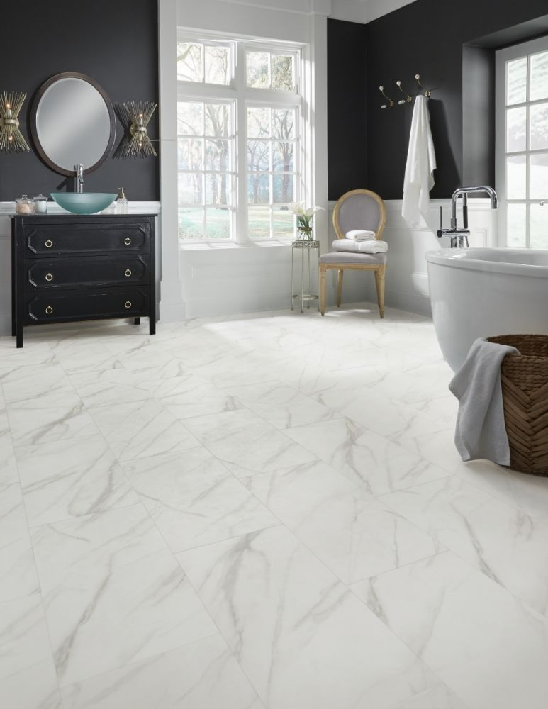 Mannington Adura® Luxury Vinyl Tile Flooring Legacy White with Beige AR411