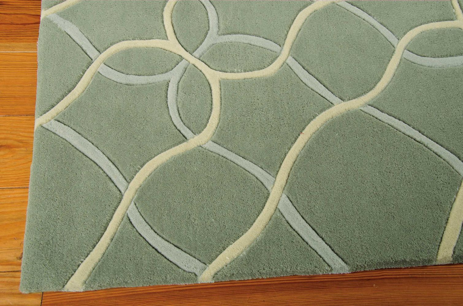 Nourison Contour Geometric, Modern/Contemporary, Sage 7'3″ x 9'3″ CON41SG6X9