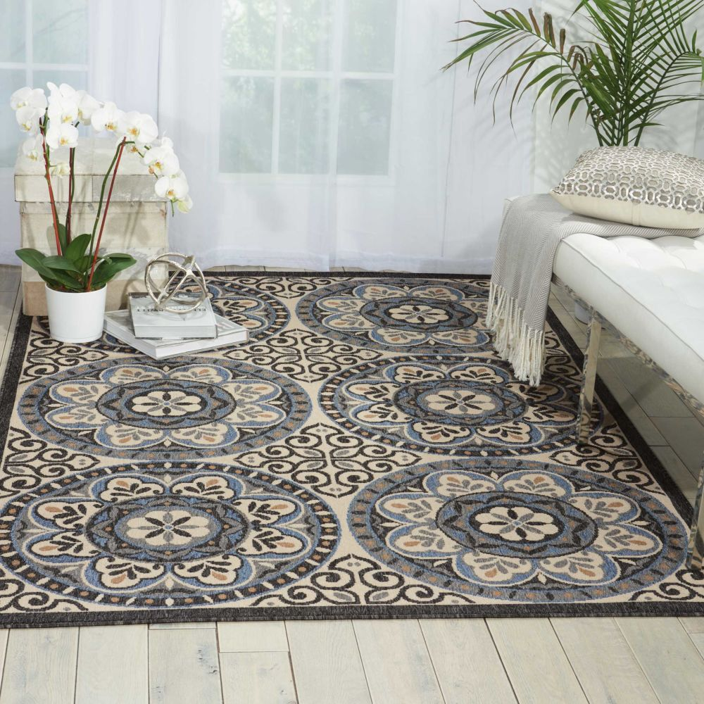Nourison Caribbean Ivory/Charcoal 2'3″ x 7'6″ Runner CRB15VRYCHRCLRUNNER
