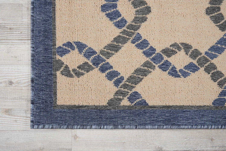 Nourison Caribbean Ivory Blue 2'6″ x 4'0″ CRB16VRYBL3X5