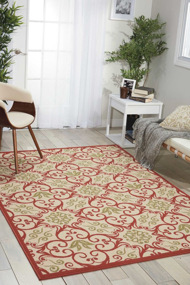 """Nourison Caribbean Ivory/Grey 3'11"""" x 5'11"""" CRB02VRYGRY4X6"""