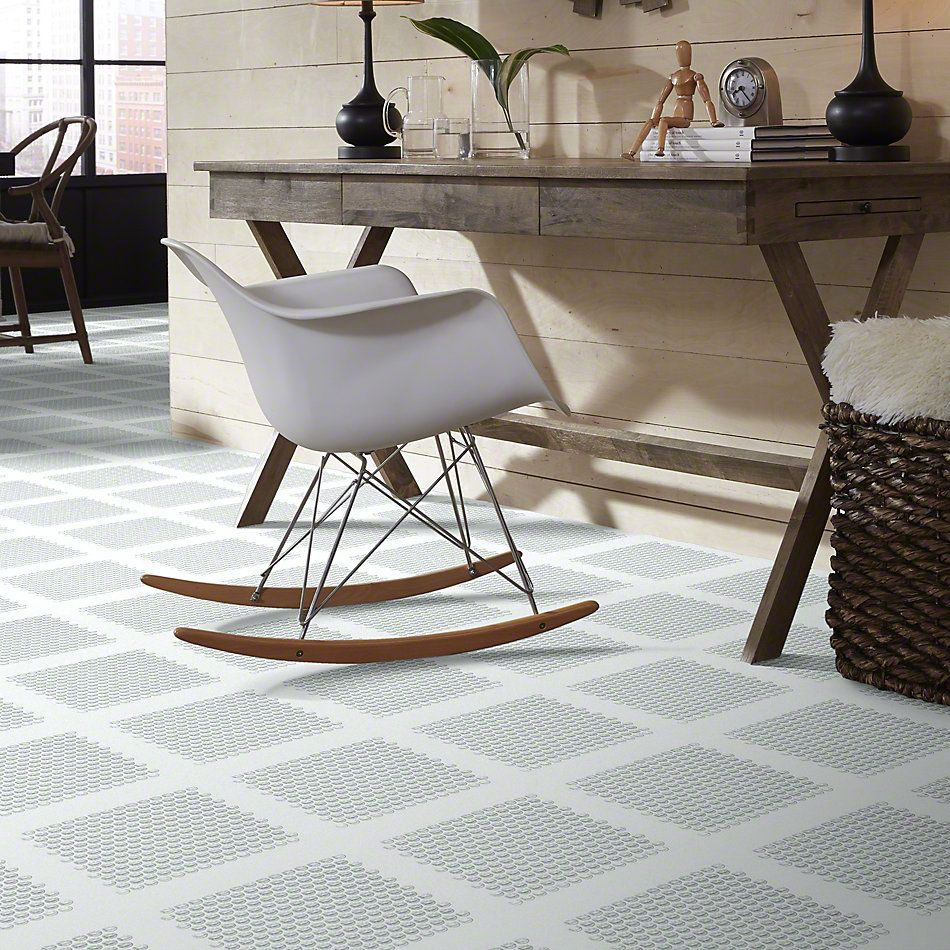 Shaw Floors Ceramic Solutions Cardinal Penny Round Glass Mos Ice 00100_CS18Z