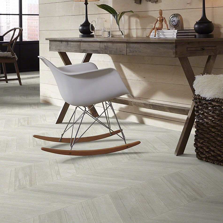 Shaw Floors Ceramic Solutions Glee Chevron Bianco 00100_CS63V