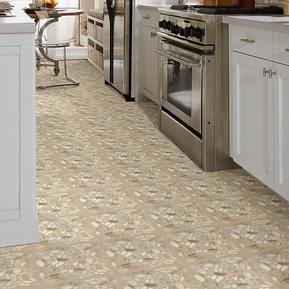 Shaw Floors Home Fn Gold Ceramic River Rock Sliced Pearl White 00100_TGL64