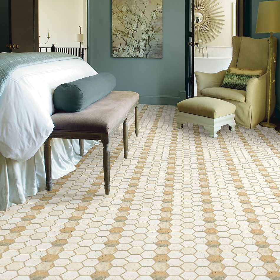 Shaw Floors Home Fn Gold Ceramic Del Ray Hexagon Mosaic Seaside 00126_TGL26