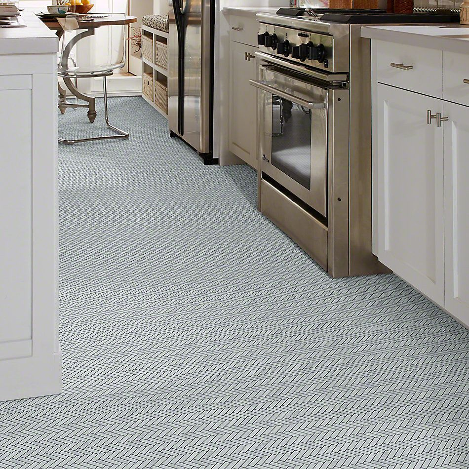 Shaw Floors Ceramic Solutions Chateau Herringbone Mosaic Bianco Carrara 00150_CS57P